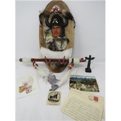 LOT OF NATIVE ART, POSTCARDS AND LETTER (LETTER FROM 1945 MENTIONS SUGAR RATIONING ETC...)