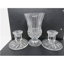 LOT OF 3 CRYSTAL CANDLEHOLDERS