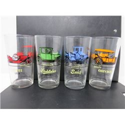 LOT OF 4 GLASSES (1910 BUICK, 1913 CHEVROLET, 1914 STUTZ, 1915 STUDEBAKER ETC...) *2 CLASSIC CARS PE