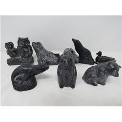 LOT OF 8 FIGURINES (ANIMAL SCULPTURES-MADE IN CANADA) *SEAL, GOOSE, BEAR, ETC...*