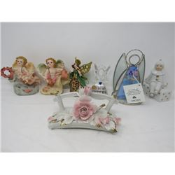 LOT OF 7 FIGURINES (ANGELS, CLOWN, ETC...)