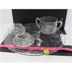 "LOT OF 4 ASSORTED SERVING DISHES (10"" PLATTER WITH LEGS, CANDLE HOLDERS AND ETCHED SUGAR BOWL)"