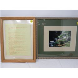 LOT OF 2 FRAMED PICTURES (LAST WILL AND TESTEMENT OF A FARMER, GARDEN SCENE)