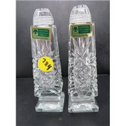 SALT AND PEPPER SHAKER (MOUTH BLOWN HAND CUT CRYSTAL) *MADE IN GERMAN DEMOCRATIC REPUBLIC*