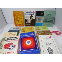 LOT OF 11 ASSORTED PAPERBACKS (BACKDOOR BILINGUALISM, SASKATCHEWAN GOVERNMENT, CANADIAN AGRICULTURAL