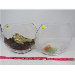 LOT OF 2 DECORATIVE FISH BOWL (1-ASST ROCKS, 1-NEST WITH BIRDS)