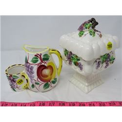 LOT OF DECORATIVE KITCHEN CONTAINERS (COFFEE CREAMER, COOKIE JAR) *VERY NICE*
