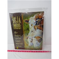 TIN WALL PICTURE (DEJA MOO COW) *MADE IN USA* (REPRODUCTION)