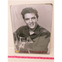 TIN WALL PICTURE (ELVIS) *SMALL WRINKLE IN FRAME EDGE* (REPRODUCTION)