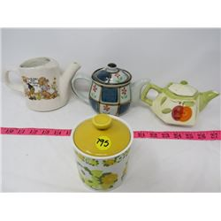 LOT OF 4 TEAPOTS AND SUGAR POT (3-CREAM, 1-SUGAR) *MCCOY-USA, JOHNSON BROS-ENGLAND, ETC...*