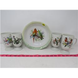 LOT OF 5 ASSORTED DISHES (BIRD THEMED BOWL-CHINA, BIRD THEMED CUPS-JAPAN)