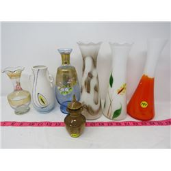 LOT OF 7 ASSORTED (FLOWER VASES & BOTTLE MADE FROM MYRTLEWOOD)