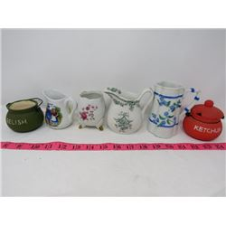 LOT OF 6 ASSORTED CONTAINERS (CHINA, PORCELAINE, ETC...)