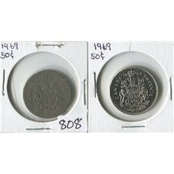 LOT OF 2 FIFTY CENT PIECES (CANADA) *1969*