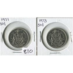 LOT OF 2 FIFTY CENT PIECES (CANADA) *1971-1973*