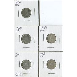 LOT OF 5 DIMES (CANADA) *1965*