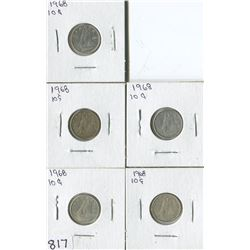 LOT OF 5 DIMES (CANADA) *1968*