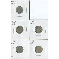 LOT OF 5 DIMES (CANADA) *1960-1961-1968*