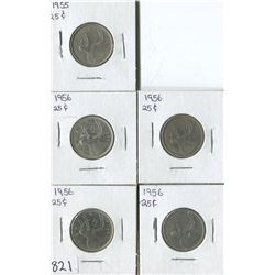 LOT OF 5 QUARTERS (CANADA) *1955-56*
