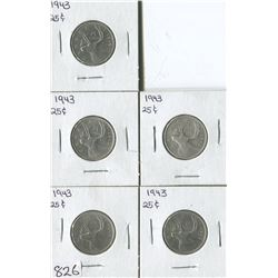 LOT OF 5 QUARTERS (CANADA) *1943*