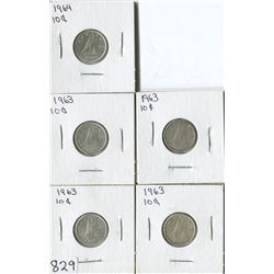 LOT OF 5 DIMES (CANADA) *1963-64*