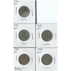 LOT OF 5 QUARTERS (CANADA) *1958-59-60*