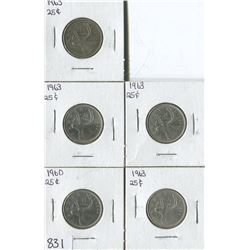 LOT OF 5 QUARTERS (CANADA) *1960-63*