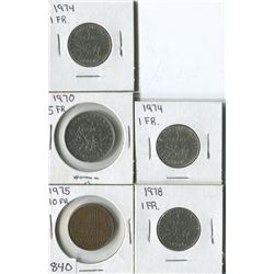 LOT OF 5 WORLD COINS (FRANCE 1-5-10 FR) *1970-74-75-78*
