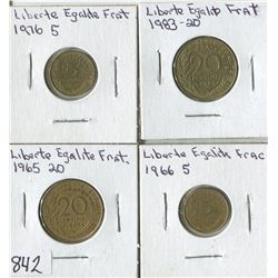 LOT OF 4 WORLD COINS (LIBERTE EGALITE FRAT) *1965-66-76-83*