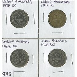 LOT OF 4 WORLD COINS (LABAN PIASTRES 25-50) *1968-69-78*