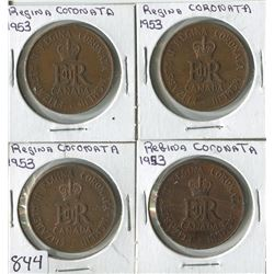 LOT OF 4 COINS (CANADA-REGINA CORANATA) *1953*