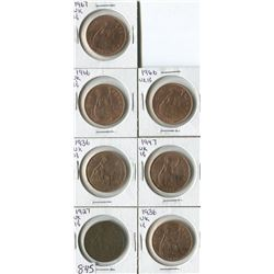 LOT OF 7 WORLD COINS (UK-ONE CENT) *1927-36-47-66-67*