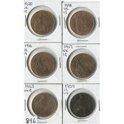 LOT OF 6 WORLD COINS (UK-ONE CENT) *1903-04-16-17-20-28*