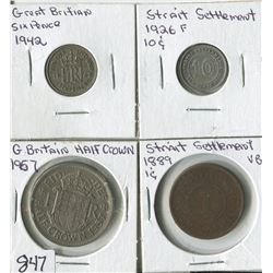 LOT OF 4 WORLD COINS (GREAT BRITAN SIX PENSE, HALF CROWN-STRAIT SETTLEMENT 1 CENT, 10 CENT) *1889-19