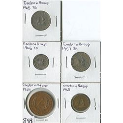 LOT OF 5 WORLD COINS (EASTER GROUP .2, .5, .10, .25) *1957-60-64-65*