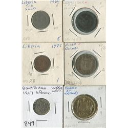 LOT OF 6 WORLD COINS (GREAT BRITAN, MONACO, LIBERIA, NORTH BORNEO, ZANZIBAR) *ASSORTED DATES*