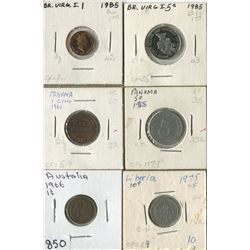 LOT OF 6 WORLD COINS (AUSTRALIA, BRITISH VIRGIN ISLANDS, PANAMA, LIBERIA, ) *ASSORTED DATES*