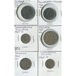 LOT OF 6 WORLD COINS (JAMAICA, REPUBLIC ITALIANA, CONFEDERATION HELVATICA) *ASSORTED DATES*