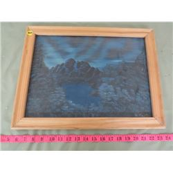 FOREST AND MOUTAIN, SIGNED PAINTING