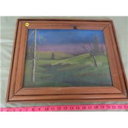HILL SCENE WITH TREES , SIGNED PAINTING, FRAMED
