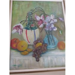 FRUIT, FLOWER, AND VASE PAINTING, FRAMED & SIGNED
