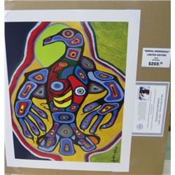 LIMITED EDITION PRINT (THUNDERBIRD WITH INNER SPIRIT, BY NORVAL MORRISSEAU)  *24 INCHES TALL BY 20 I