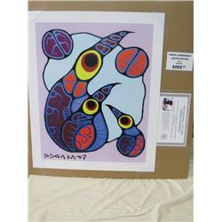 LIMITED EDITION PRINT (FAMILY OF BIRDS, BY NORVAL MORRISSEAU)  *24 INCHES TALL BY 20 INCHES WIDE*
