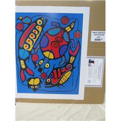 LIMITED EDITION PRINT (HARMONY IN NATURE, BY NORVAL MORRISSEAU)  *24 INCHES TALL BY 20 INCHES WIDE*