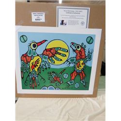 LIMITED EDITION PRINT (THUNDERBIRD FACES CAVE BEAR, BY NORVAL MORRISSEAU)  *20 INCHES TALL BY 24 INC
