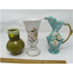 LOT OF 3 ASSORTED VASES (MADE IN JAPAN) * NO CHIPS OR CRACKS, 5 INCHES HIGH-2 X 7 INCHES HIGH*