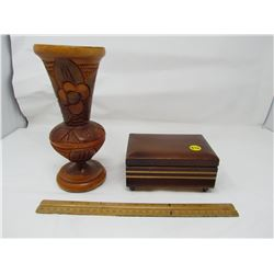 WOODEN VASE AND WOODEN MUSICAL JEWELLERY BOX (WORKING)
