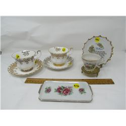 LOT OF 8 PIECES OF CHINA (2 CUPS AND SAUCERS -ROYAL ALBERT, 1-BUTTER DISH, 1-MOTHER CUP, SAUCER AND