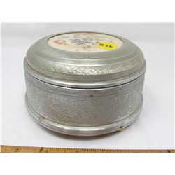 ALUMINUM JEWELLERY/POWDER BOX (MUSICAL MOVEMENT IS IN WORKING CONDITION) *5 INCHES ACROSS X 3 INCHES