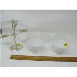 LOT OF FRUIT NAPPIES AND CANDLESTICK HOLDER (3 GLASBAKE 2-INDOPAL)